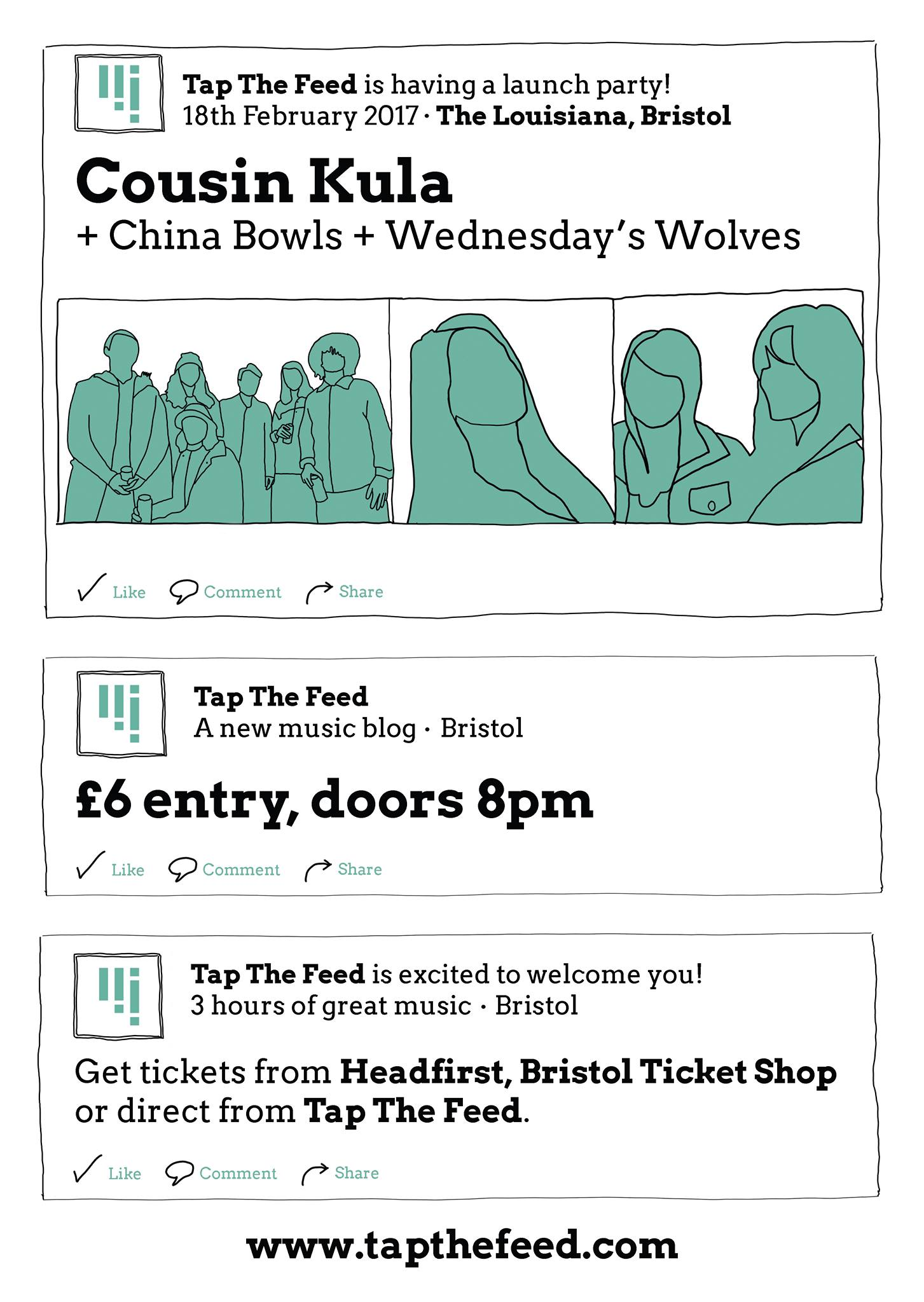 Tap The Feed launch party - Cousin Kula + China Bowls + Wednesday Wolves