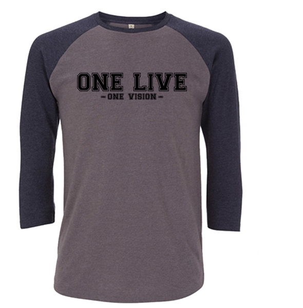 """One Live/One Vision"" Heather/Navy Baseball Tee - Dogfest"