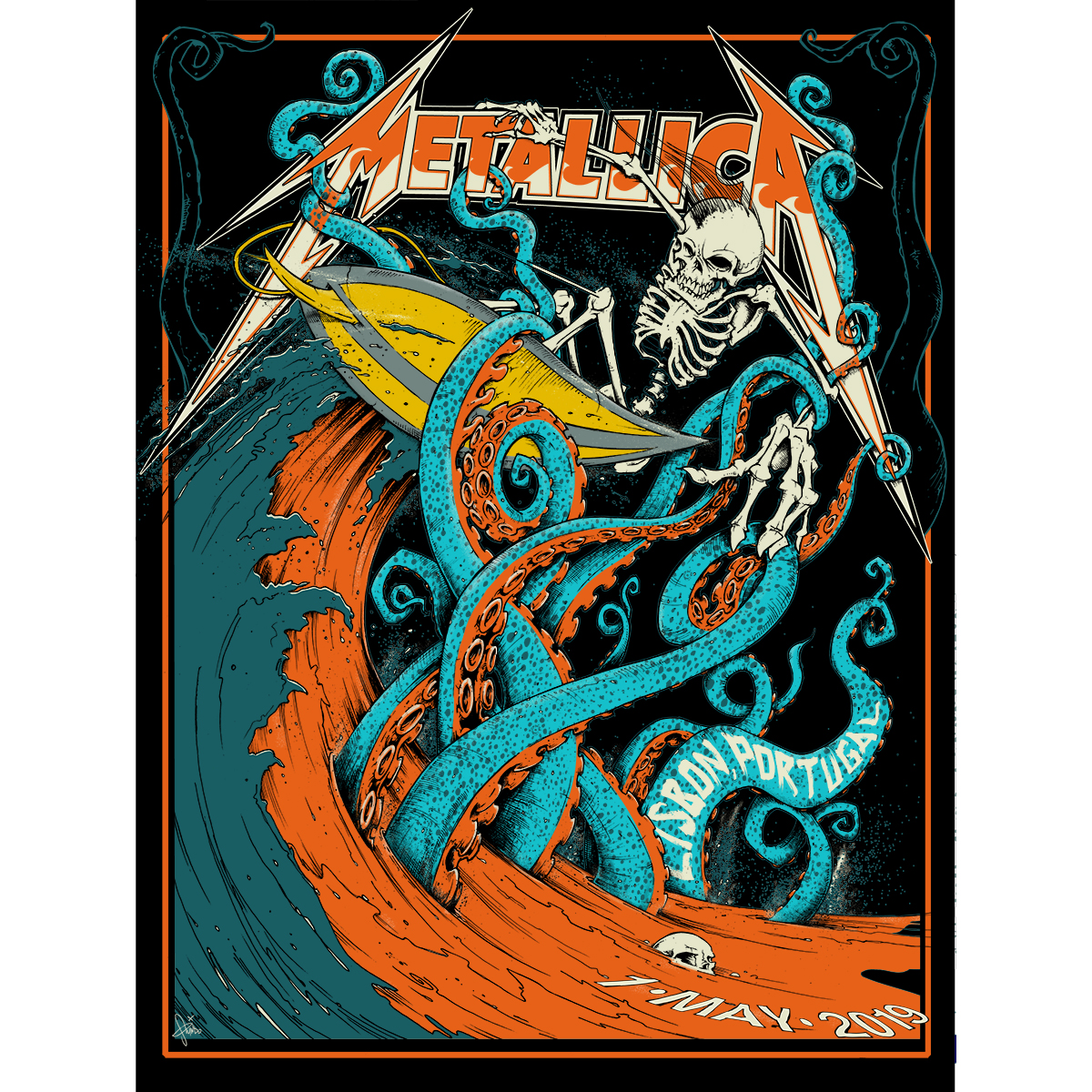 Lisbon May 1st – Limited Edition Numbered Screen Printed Event Poster - Metallica