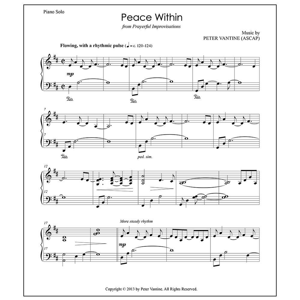 Peace Within (sheet music download) - Peter Vantine