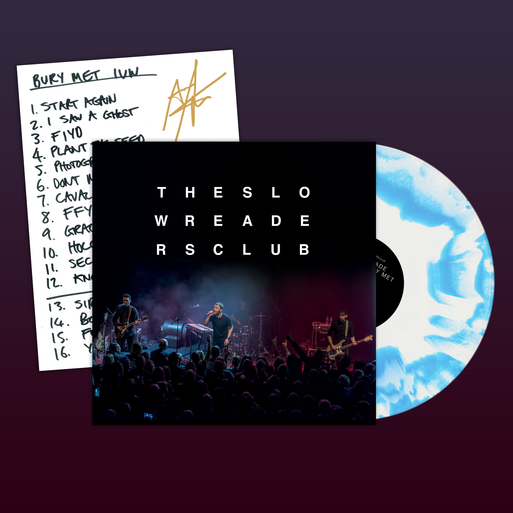 "Cavalcade: Live at Bury Met 12"" + Signed Setlist - The Slow Readers Club"
