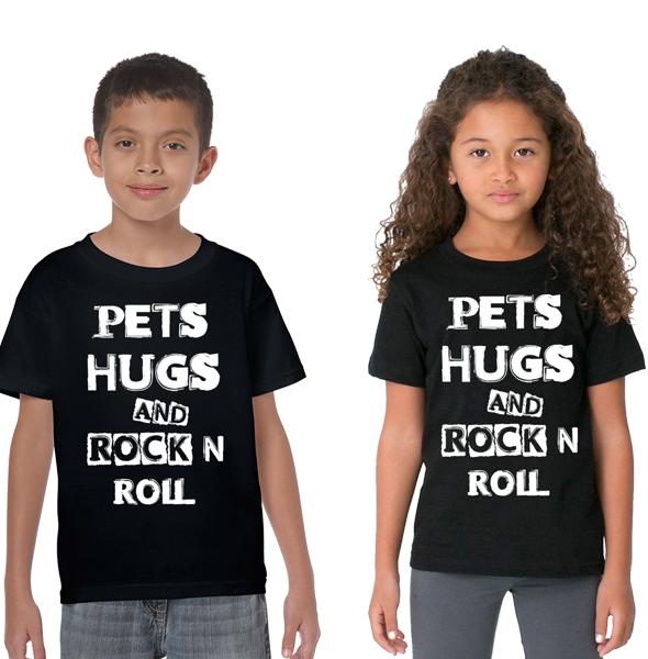 "Kids ""Pets & Hugs & Rock'n'Roll"" Blk Tee - Dogfest"
