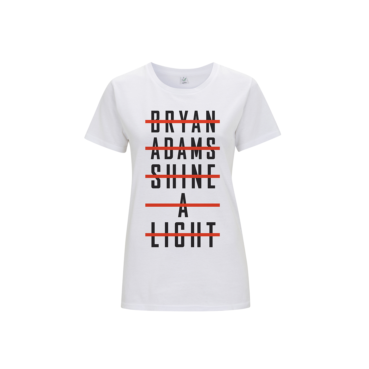 Stacked Type Logo -  Ladies White Tee - Bryan Adams