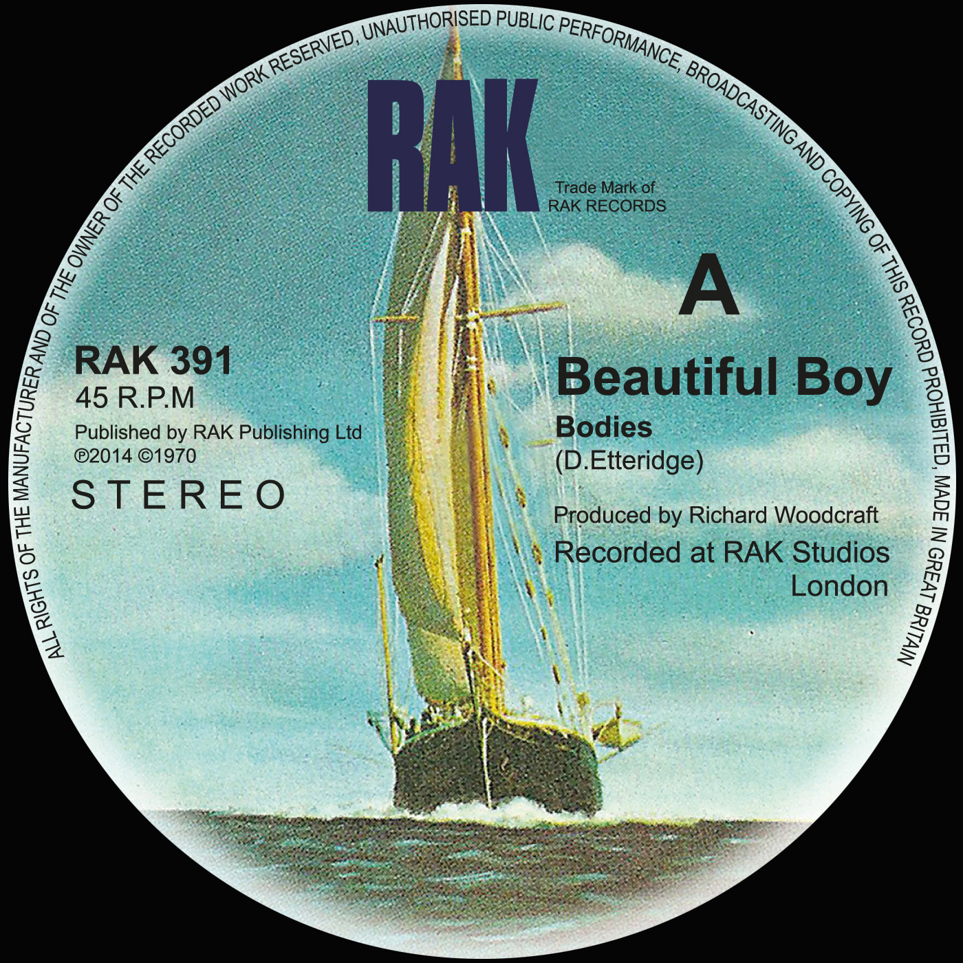 "Beautiful Boy - Bodies / Kids in America - 7"" Vinyl - RAK"