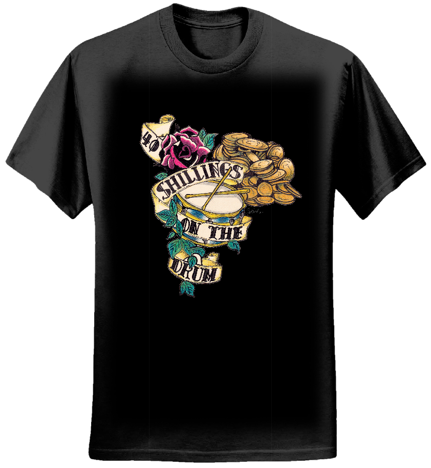 WOMENS: 40 Shillings on the Drum Original Artwork Tee (BLACK) - 40 Shillings on the Drum